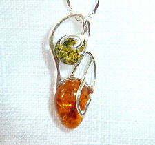 Genuine Green & Cognac Baltic Amber Solid 925 Sterling Silver Pendant & Chain