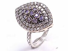 TURKISH HANDMADE AMETHYST 925 STERLING SILVER RING SIZE8 R-1133