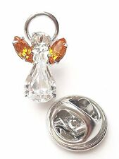 Swarovski Crystal Elements Birthstone Guardian Angel Pin November Topaz