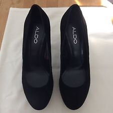 Aldo Women Quality Black Suede Block High Heels Size 37 EU Very Nice