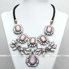 Hot Fashion Women's luxury Crystal Flower Beads Pink Chain Statement Necklace