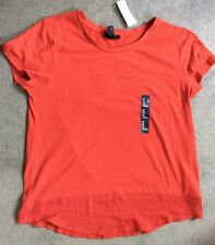 GAP - RED CREW NECK TOP WITH SILKY FABRIC AT HEMLINE - M- BNWT