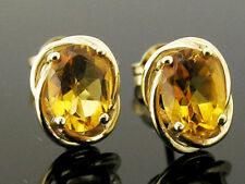 E063 - Genuine 9ct Solid Gold NATURAL Citrine Stud Earrings Large 7x5mm gems