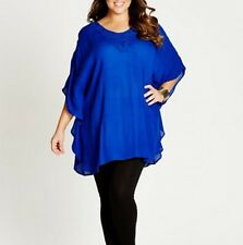 Plus Size Ladies Blue Poncho Style Top With Crochet Neck Line Size 20 FREE POST