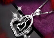 Sterling Silber Herz Anhänger mit Kette Halskette Herzkette Silberschmuck Liebe