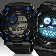 OHSEN Mens Womens 12/24 Hrs Alarm Military Army Digital Sport Watch Quartz Blue