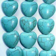 Chinese Turquoise 18mm Heart Shaped Blue/Green Jewelry Beads - 6pcs (#3973)