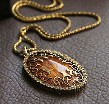 Vintage Amber Hollow Classic Long chain Sweater Pendant Necklace Fashion Jewelry