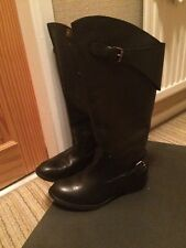 Diesel Black Leather Boots Size 37/4