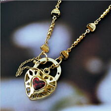 New 9K Yellow Gold Filled & Ruby Crystal Filigree Heart Pendant Necklace