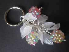 Silver tone Bag Charm / Keyring - Winter Berries & Frosted Leaves