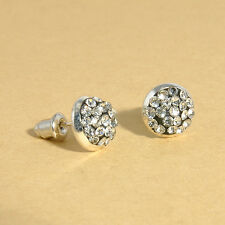 Women's White Crystal Rose Flower Stud Earrings Ear FAshion Jewelry Gift