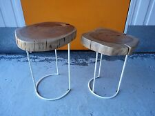 X 2 LOVELY CHUNKY RUSTIC SOLID WOOD & CURVED WHITE METAL SIDE TABLES