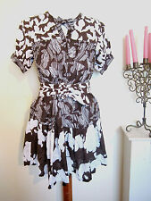 Ladies French Connection RUFFLE SHIRT DRESS Size 8 BROWN TRIBAL SHIFT SKATER VTG