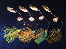 4x PFS 1/2oz Spinnerbaits Spinner Bait Fishing Lures Skirted Soft Plastic Bass