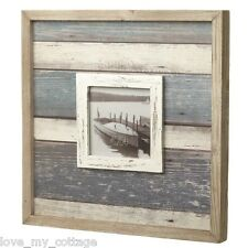 Nautical Seaside Theme Home Decor Wooden White Blue Stripe Photo Picture Frame S