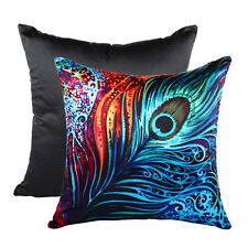 "Vintage Peacock Feathers Home Decor Throw Pillow Case Cushion Cover 18"" Square"