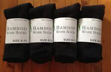 6 PAIRS MEN BLACK BAMBOO THICK WORK SOCKS / SOCK 95% BAMBOO FIBRE 6-11