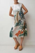 No Label White Red Green Japanese Print Silk Sleeveless Midi Shift Dress Fits 8
