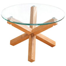 Solid Oak & Glass Wood Round Coffee Table