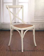 8 x Dining Chair French Provincial Birch, Cross Back Antique White Cafe Style