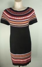 Black Brown White Aztec print WOOL mix Knit short sleeve dress sz 12