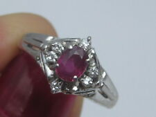 Platinum Ruby Gemstone W/Natural Diamond Accents Ring Size 5