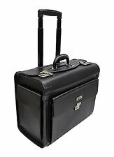 FAUX BLACK LEATHER LAPTOP TROLLEY WHEELED BRIEFCASE HAND LUGGAGE PILOT CASE BAG