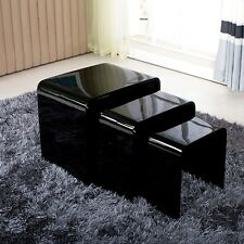 High Gloss Black Nest Set of 3 Coffee Table Nested Side Table Living Room 2016