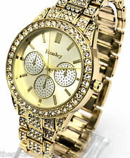 Henley Ladies Sparkly Crystals Watch Gold Tone Bling includes Presentation Box