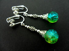 A PAIR OF TIBETAN SILVER BLUE/GREEN CRACKLE GLASS BEAD  CLIP ON EARRINGS. NEW.