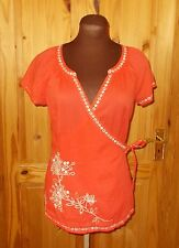MONSOON coral orange-pink silver floral embroidery short sleeve wrap tunic top 8