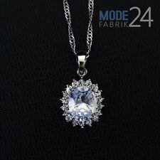 Damen Hals Kette 925 Sterling Silber pl Zirkonia 4 Karat Anhänger Luxus Geschenk