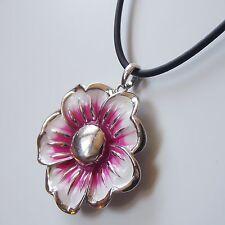 Kurze Halskette Collier Kautschukkette Anhänger Kette Pink Silber