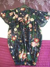 Ladies Size 8 Floral Print Flimsy Blouse Top Sheer Navy