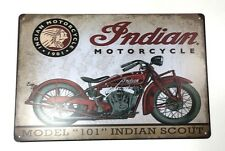 Tin Metal Wall Sign Plaque Vintage Retro Indian Motorcycle 20 x 30cm