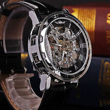 Classic Men's Black Leather Dial Skeleton Mechanical Sport Army Wrist Watch AU-R