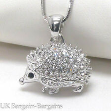 Cute White Gold Plating Crystal Porcupine Hedgehog Charm Pendant Necklace UK
