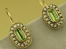 CE145 Genuine 9ct Yellow Gold Natural PERIDOT & PEARL Cluster Earrings leverback