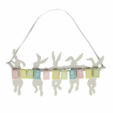 Pastel Happy Easter Hanging Sign / Plaque with White Silhouetted Bunnies