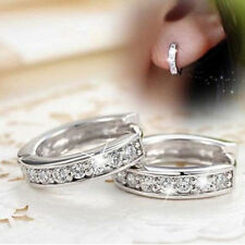 Silver Hoop Earrings Crystal Heart Stud Women Round Charming Jewelry