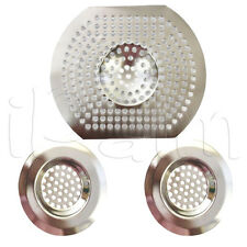 3PC SINK BATH STRAINER HAIR TRAP FOOD FILTER BASIN PLUG HOLE CHROME SILVER