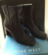 BLACK LEATHER NINE WEST ANKLE BOOTS UK SIZE 3.5 RRP £80