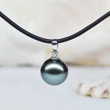 14mm high lustre black seashell pearl pendant rubber chain necklace