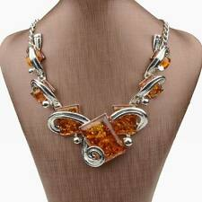 Tibet Flossy Silver Ambroid Faux Amber Square Statement Necklace Pendant