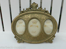 VINTAGE OLD GOLD 3 PICTURE PHOTO FRAME SHABBY CHIC OVAL WITH PRETTY SCROLLS
