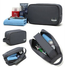 Mens Grey Travel Waterproof Toiletry Bag Wash Shower Organizer Kit Case Handy