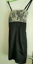 Ladies Size 8 Black Floral Bodice Party Dress