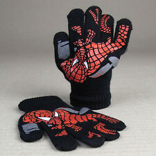Kids Boys Spiderman Spidey Black Stretch Knitted Gloves Acrylic Winter Superhero