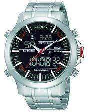 NEU RW601AX9 Lorus Herren Zwei Anzeige Chronograph Edelstahl Uhr